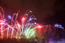 9pm Countdown Fireworks lit from Edinburgh Castle.<br /> Edinburgh's Hogmanay 2013.