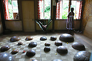 Carved bowls, Omoa village, Fatu Hiva, Marquesas, French Polynesia, (Editorial use only, no model release)<br />