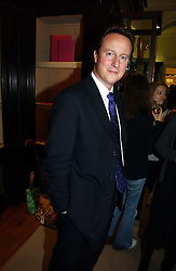 DAVID CAMERON MP leader of the Conservative party  at a party to celebrate the 10th anniversary of the Smythson Fashion Diary and to the launch of the 2007 Limited Edition held at Smythson, New Bond Street, London on 25th October 2006.<br /><br />NON EXCLUSIVE - WORLD RIGHTS