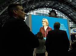 (c) Licensed to London News Pictures. <br /> 03/10/2017<br /> Manchester, UK<br /> <br /> Delegates watch a big screen display as Home Secretary, Amber Rudd speaks at the Conservative Party Conference held at the Manchester Central Convention Complex.<br /> <br /> Photo Credit: Ian Forsyth/LNP