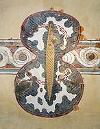 Minoan wall art fresco of a 'figure of eight' shield from Knossos Palace, 1450-1300 BC. Heraklion Archaeological Museum.<br /> <br /> <br /> The Final Palatial Period Minoan fresco is from the Grand Staircase of the Palace of Knossos and is a Trompe-l'œil  of minoan warriors shields covered with ox hide. .<br /> <br /> If you prefer to buy from our ALAMY PHOTO LIBRARY  Collection visit : https://www.alamy.com/portfolio/paul-williams-funkystock/minoan-art-artefacts.html . Type -   Heraklion   - into the LOWER SEARCH WITHIN GALLERY box. Refine search by adding background colour, place, museum etc<br /> <br /> Visit our MINOAN ART PHOTO COLLECTIONS for more photos to download  as wall art prints https://funkystock.photoshelter.com/gallery-collection/Ancient-Minoans-Art-Artefacts-Antiquities-Historic-Places-Pictures-Images-of/C0000ricT2SU_M9w