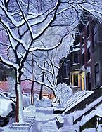 Drawing of first light on snowy Brooklyn street.