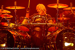 Drummer Frank Beard of ZZ Top plays on the Wolfman Jack stage at the Buffalo Chip Campground during the annual Sturgis Black Hills Motorcycle Rally. SD, USA. August 6, 2014.  Photography ©2014 Michael