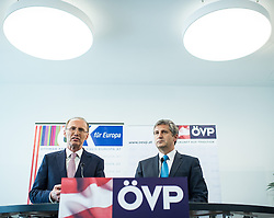 26.05.2014, OeVP Bundespartei, Wien, AUT, OeVP, Pressekonferenz nach Vorstandssitzung der OeVP Bundespartei. im Bild v.l.n.r. OeVP Spitzencandidat zur EU-Wahl Othmar Karas und Vizekanzler und Bundesminister fuer Finanzen Michael Spindelegger (OeVP) // f.l.t.r. OeVP Topcandidate for EU-Election and Vice Chancellor of Austria and Minister of Finance Michael Spindelegger (OeVP) during press conference after board meeting of OeVP at federal party of OeVP in Vienna, Austria on 2014/05/26. EXPA Pictures © 2014, PhotoCredit: EXPA/ Michael Gruber