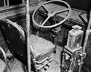 Y-480722B-01.  Damage to driver's seat.900 bus victim of Vanport flood. Before restoration. Detail shots. Cleaning, paint shop, July  22, 1948