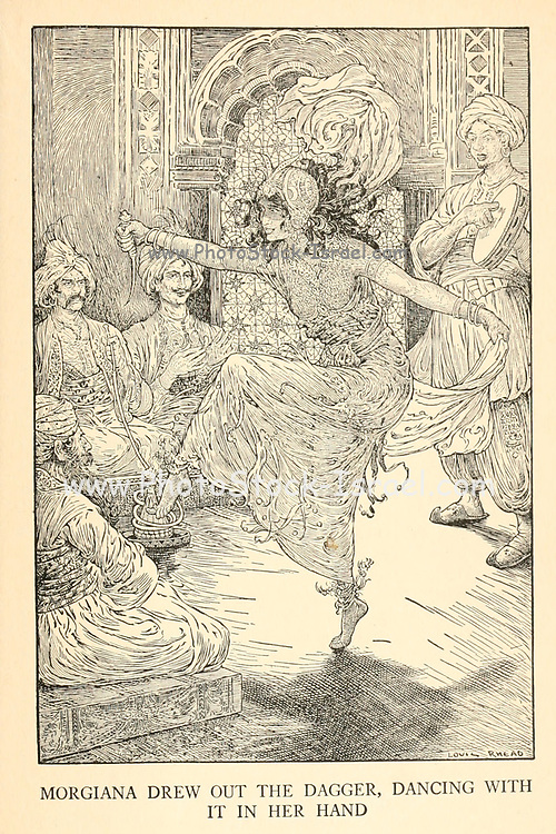 Morgiana Drew Out The Dagger, Dancing With It In Her Hand from the book ' The Arabian nights' entertainments ' Test and Illustrations by Louis Rhead, Published  in New York by Harper & Brothers in 1916. In order to save her life, Sheherazade entertains the sultan by telling him wondrous stories