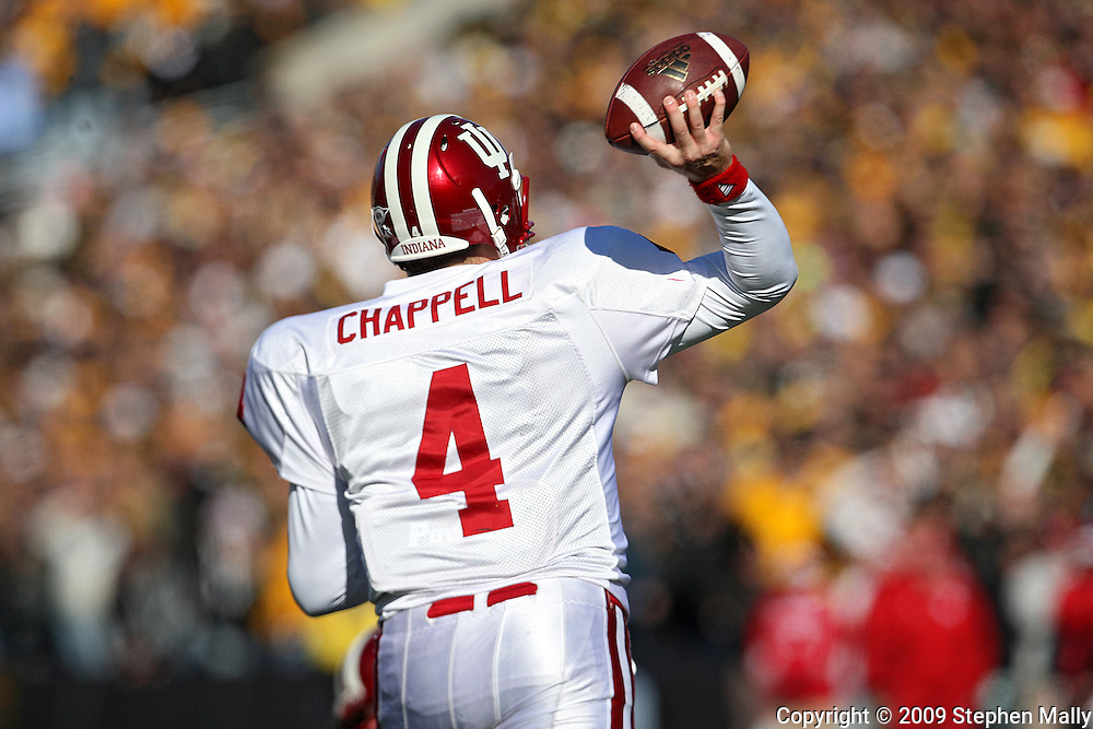 October 31, 2009: Indiana quarterback Ben Chappell (4) during the second half of the Iowa Hawkeyes' 42-24 win over the Indiana Hoosiers at Kinnick Stadium in Iowa City, Iowa on October 31, 2009.