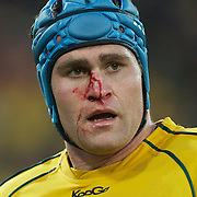 Australian Captain James Horwill bleeding during the South Africa V Australia Quarter Final match at the IRB Rugby World Cup tournament. Wellington Regional Stadium, Wellington, New Zealand, 9th October 2011. Photo Tim Clayton...