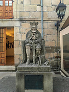 statue of King Alfonso IX is displayed in Sarria town, in the French Way of St. James Way, Lugo province, Galicia, Spain