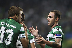 October 31, 2017 - Lisbon, Portugal - Sporting's forward Bruno Cesar (R) celebrates with Sporting's defender Stefan Ristovski after scoring a goal during the Champions League  football match between Sporting CP and Juventus FC at Jose Alvalade  Stadium in Lisbon on October 31, 2017. (Credit Image: © Carlos Costa/NurPhoto via ZUMA Press)