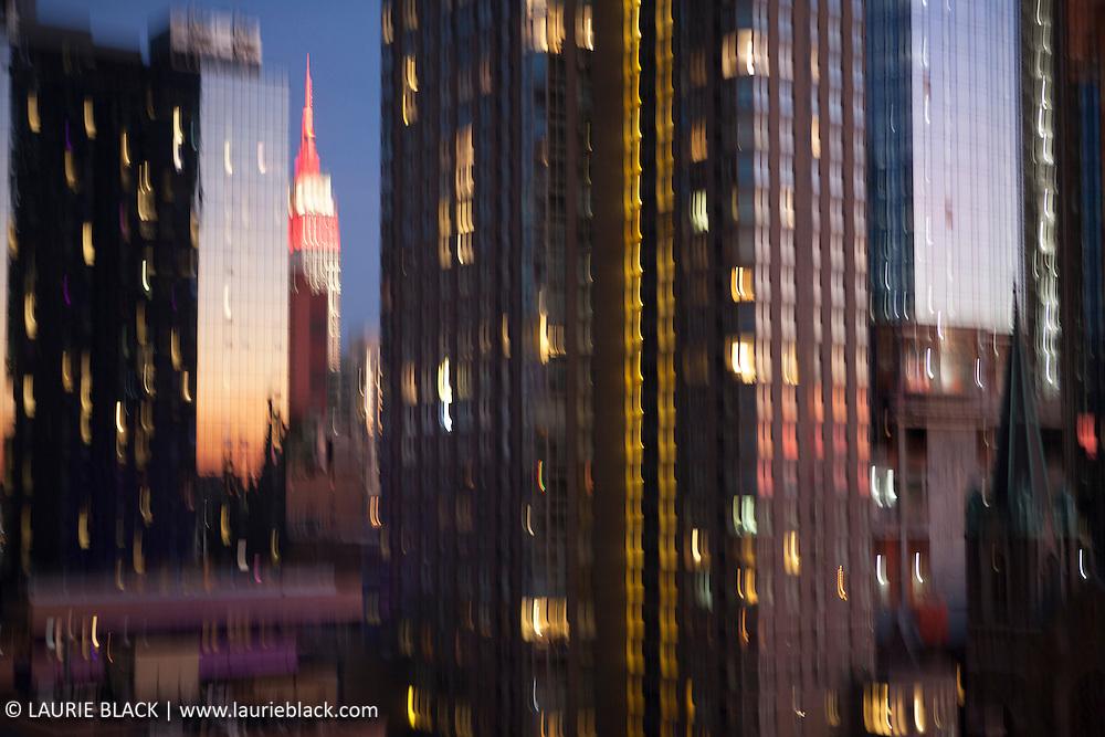 New York cityscape at night