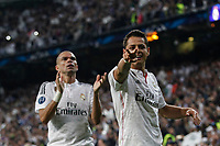 Real Madrid's Chicharito cerebrates a goal (1-0) during quarterfinal second leg Champions League soccer match against Atletico de Madrid at Santiago Bernabeu stadium in Madrid, Spain. April 22, 2015. (ALTERPHOTOS/Victor Blanco)