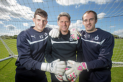 Falkirk's keeper's Graham Bowman and Jamie MacDonald with the Goalkeeping Coach Derek Jackson. Falkirk FC training down south before next weeks Cup Final.