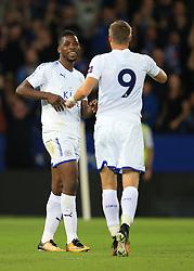 4 August 2017 -  Pre-Season Friendly - Leicester City v Borussia Monchengladbach - Kelechi Iheanacho celebrates with Jamie Vardy of Leicester City - Photo: Marc Atkins / Offside.