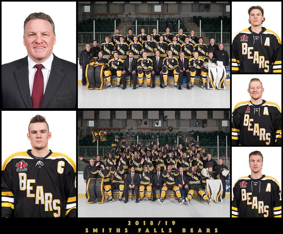 2018/19 Smiths Falls Bears Junior 'A' Portraits / Team Photo<br /> <br /> March 21, 2019<br /> <br /> Photo's: Steve Kingsman for Smiths Falls Bears