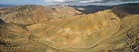 Aerial panoramic view of the famous winding mountain road that links the small towns of Casillas del Ángel and Pájara in Fuerteventura, Canary Islands, Spain.