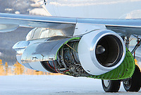 Pratt & Whitney JT8D jet engine with cowlings open.