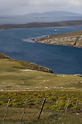 West Point. Looking east over Dunbar on West Fallkand Island. M.V. Saint Brandan contracted by the UK Military as a supply boat is out at sea bewteen the islands.<br /> West Point Island. Off of West Falkland. FALKLAND ISLANDS.<br /> An island owned by Roddy and Lily Napier who have lived there for most of their lives. It is a small sheep farm with about 1,000 sheep and some cattle but now they survive mainly on tourism with several cruize ships visiting during the summer. The island is renowed for its huge Black-browed Albatross Rockhopper Penguin colonies.