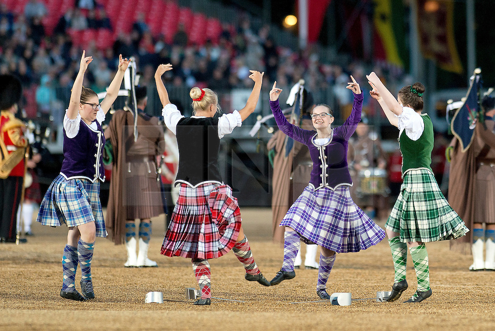 © London News Pictures. 10/06/2015. London, UK. Scottish dancers perform a traditional dance as part of the display during Beating Retreat. Waterloo 200 themed open air Beating Retreat, performed on Horseguards Parade in London. Photo credit: Sergeant Rupert Frere/LNP