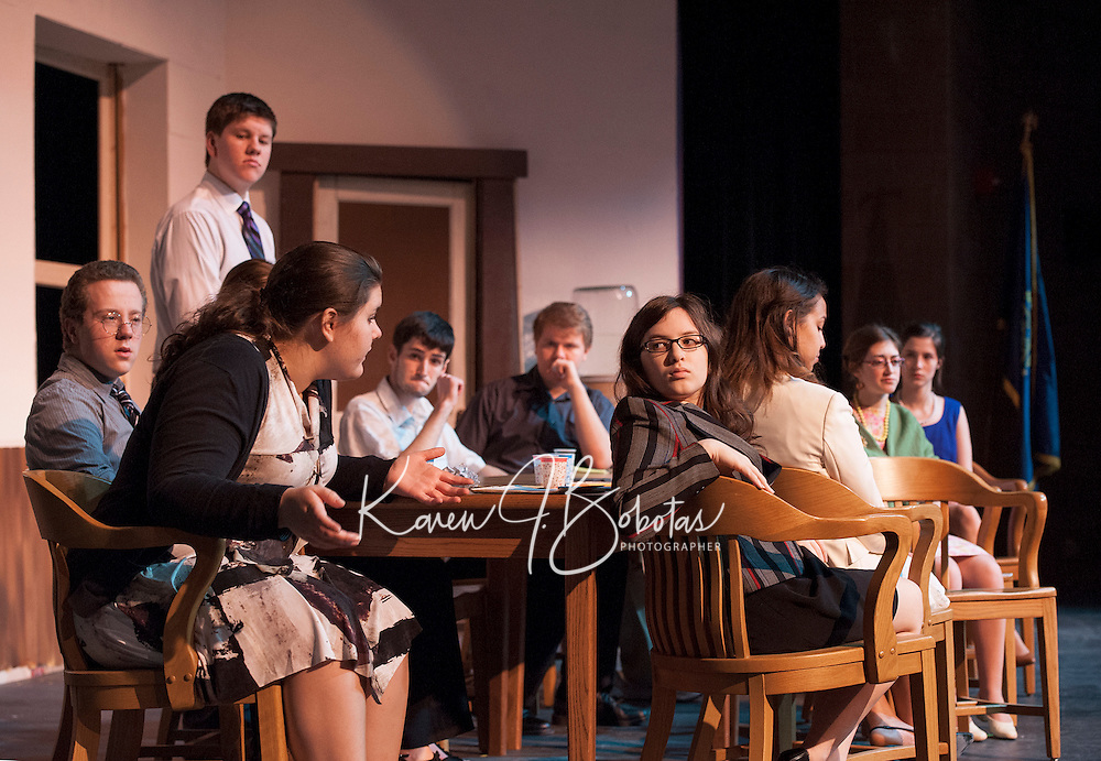 Sarah Cook speaks to Sophia Prevost during dress rehearsal for 12 Angry Jurors at Gilford High School Wednesday afternoon.   (Karen Bobotas/for the Laconia Daily Sun)