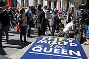 They misled the Queen placard in front of television and media outside The Supreme Court as the first day of the hearing to rule on the legality of suspending or proroguing Parliament begins on September 17th 2019 in London, United Kingdom. The ruling will be made by 11 judges in the coming days to determine if the action of Prime Minister Boris Johnson to suspend parliament and his advice to do so given to the Queen was unlawful. (photo by Mike Kemp/In Pictures via Getty Images)