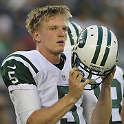 Jets quarterback Matt Simms after being sacked during the first quarter of the New York Jets V Philadelphia Eagles Pre Season NFL match at MetLife Stadium, East Rutherford, NJ, USA. 29th August 2013. Photo Tim Clayton