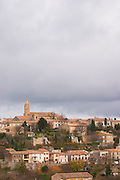 Fanjeaux hilltop village with church. Languedoc France Europe.