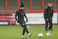 Forest Green Rovers George Williams(11) warming up during the EFL Sky Bet League 2 match between Stevenage and Forest Green Rovers at the Lamex Stadium, Stevenage, England on 26 December 2019.
