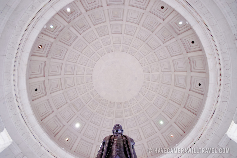 Statue of Thomas Jefferson at the Jefferson Memorial. Wide-angle with copy space