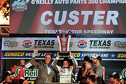 November 3, 2018 - Fort Worth, TX, U.S. - FORT WORTH, TX - NOVEMBER 03: NASCAR Xfinity Series driver Cole Custer (00) celebrates in victory lane after winning the O'Reilly Auto Parts 300 on November 3, 2018 at the Texas Motor Speedway in Fort Worth, Texas. (Photo by Matthew Pearce/Icon Sportswire) (Credit Image: © Matthew Pearce/Icon SMI via ZUMA Press)