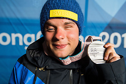 March 14, 2018 - Pyeongchang, SOUTH KOREA - 180314 Zebastian Modin of Sweden poses with his silver medal after the medal ceremony for the men's visually impaired sprint cross-country skiing final during day five of the 2018 Winter Paralympics on March 14, 2018 in Pyeongchang..Photo: Vegard Wivestad GrÂ¿tt / BILDBYRN / kod VG / 170126 (Credit Image: © Vegard Wivestad Gr¯Tt/Bildbyran via ZUMA Press)