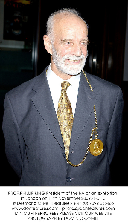 PROF.PHILLIP KING President of the RA at an exhibition in London on 11th November 2002.PFC 13