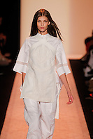 A model walks the runway wearing BCBG MaxAzria Spring 2015 during Mecedes-Benz Fashion Week in New York on September 3rd, 2014