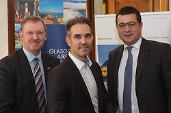 German airline Lufthansa today launched direct flights between Glasgow and Frankfurt, pictured left to right: Stuart Patrick, CEO Glasgow Chamber of Commerce, Andreas Koester of Lufthansa and Francois Bourienne of Glasgow airport 26032018. <br /> <br /> Terry Murden @edinburghelitemedia