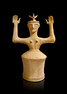 Minoan Postpalatial terracotta  goddess statue with raised arms and horn crown,  Karphi Sanctuary 1200-1100 BC, Heraklion Archaeological Museum, black background. <br /> <br /> The Goddesses are crowned with symbols of earth and sky in the shapes of snakes and birds, describing attributes of the goddess as protector of nature. .<br /> <br /> If you prefer to buy from our ALAMY PHOTO LIBRARY  Collection visit : https://www.alamy.com/portfolio/paul-williams-funkystock/minoan-art-artefacts.html . Type -   Heraklion   - into the LOWER SEARCH WITHIN GALLERY box. Refine search by adding background colour, place, museum etc<br /> <br /> Visit our MINOAN ART PHOTO COLLECTIONS for more photos to download  as wall art prints https://funkystock.photoshelter.com/gallery-collection/Ancient-Minoans-Art-Artefacts-Antiquities-Historic-Places-Pictures-Images-of/C0000ricT2SU_M9w
