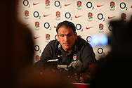 Martin Johnson at a press conference after the England elite player squad trainnig session at Pennyhill Park, Bagshot, UK, on 11th March 2011  (Photo by Andrew Tobin/SLIK images)