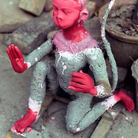 Asia, India, Calcutta. Clay monkey diety in the potter's village of Kumartuli in Calcutta.