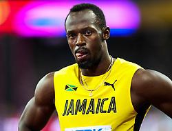 London, 2017-August-04. Usain Bolt awaits the start of his Men's 100m heat at the IAAF World Championships London 2017. Paul Davey.