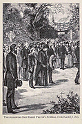 The Following Day Harry Felto's Funeral Took Place from the book ' Mistress Branican ' by Jules Verne, illustrated by Leon Benett. The story begins in the United States, where the heroine, Mistress Branican, suffers a mental breakdown after the death by drowning of her young son. On recovering, she learns that her husband, Captain Branican, has been reported lost at sea. Having acquired a fortune, she is able to launch an expedition to search for her husband, who she is convinced is still alive. She leads the expedition herself and trail leads her into the Australian hinterland. Mistress Branican (French: Mistress Branican, 1891) is an adventure novel written by Jules Verne and based on Colonel Peter Egerton Warburton and Ernest Giles accounts of their journeys across the Western Australian deserts, and inspired by the search launched by Lady Franklin when her husband Sir John Franklin was reported lost in the Northwest Passage. Translated by A. Estoclet, Published in New York, Cassell Pub. Co. 1891.