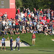 Ryder Cup 2016. Day One. Rory McIlroy of Europe celebrates after sinking the decisive putt on the sixteenth hole to put Europe back in contention in the Friday afternoon four-ball competition during the Ryder Cup at  Hazeltine National Golf Club on September 30, 2016 in Chaska, Minnesota.  (Photo by Tim Clayton/Corbis via Getty Images)