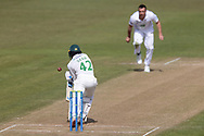 Kyle Abbott beats Hassan Azad outside off stump during Day 3 of the LV= Insurance County Championship match between Leicestershire County Cricket Club and Hampshire County Cricket Club at the Uptonsteel County Ground, Leicester, United Kingdom on 10 April 2021.