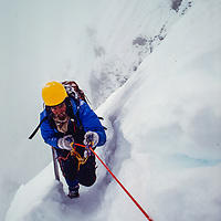 Jay Jensen on the final pitch to the North Col of Barruntse Peak, Nepal, 1980
