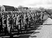 On the March. Troops from the 53rd Infantry Battalion, including some from the Southern Command, pass the reviewing stand at McKee Barracks, Cork.<br /> 12 April 1983