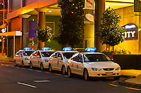 A line of taxis queueing, Sky City, Central Business District, Auckland, New Zealand