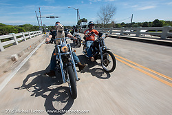 """""""Moonshiner Josh"""" Owens with his dog """"Cutie Pie"""" riding his 2005 Harley-Davidson Softail alongside Ron Linville into Tamoka State Park during Daytona Beach Bike Week 2015. FL, USA. March 13, 2015.  Photography ©2015 Michael Lichter."""