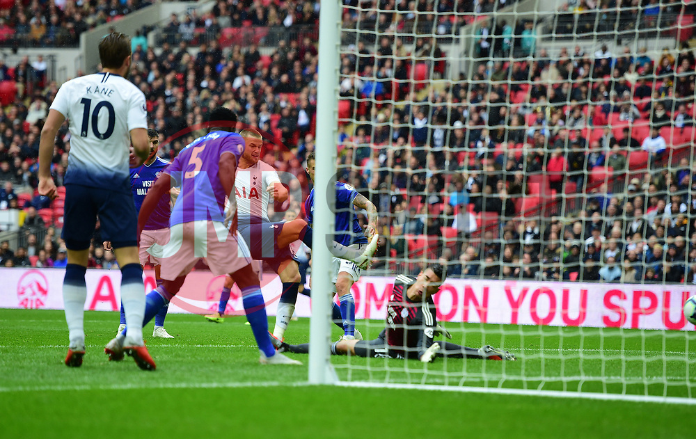 Eric Dier of Tottenham Hotspur scores. - Mandatory by-line: Alex James/JMP - 06/10/2018 - FOOTBALL - Wembley Stadium - London, England - Tottenham Hotspur v Cardiff City - Premier League