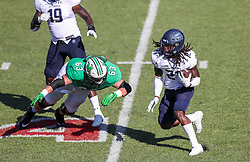 Oct 9, 2021; Huntington, West Virginia, USA; Old Dominion Monarchs safety R'Tarriun Johnson (21) returns the ball following an interception during the third quarter against the Marshall Thundering Herd at Joan C. Edwards Stadium. Mandatory Credit: Ben Queen-USA TODAY Sports