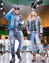 09.10.2015, Europapark, Salzburg, AUT, Praesentation der OeSV Winterkollektion, ??, im Bild v.l. Matthias Mayer, Cornelia Hütter // during Fashion Show of the Presentation of OeSV winter collection of Austrian Ski Federation OeSV at the Europapark in Salzburg, Austria on 2015/10/09. EXPA Pictures © 2015, PhotoCredit: EXPA/ Johann Groder