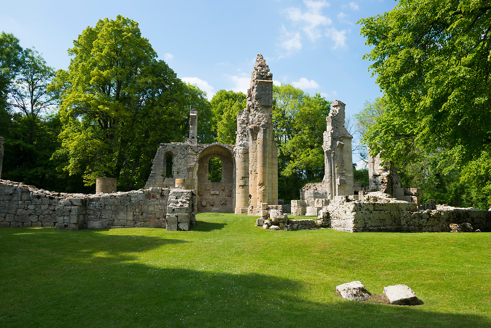 Church ruins located at the base of the Montfaucon American Monument in Montfaucon-d'Argonne, Lorraine, France. The monument commemorates the American victory on this location in the Meuse-Argonne Offensive during World War I. The church was destroyed in the fighting.
