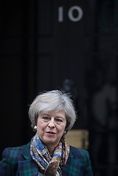 © Licensed to London News Pictures. 31/01/2017. London, UK. Prime Minister Theresa May leaves Downing Street for Parliament. The European Union withdrawal bill will be debated today.Photo credit: Peter Macdiarmid/LNP